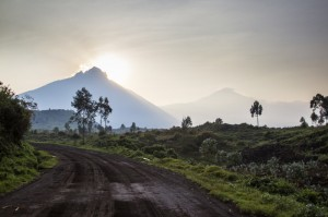 Sunrise behind Mount Mikeno, Virunga National Park, Democratic Republic of Congo, Africa